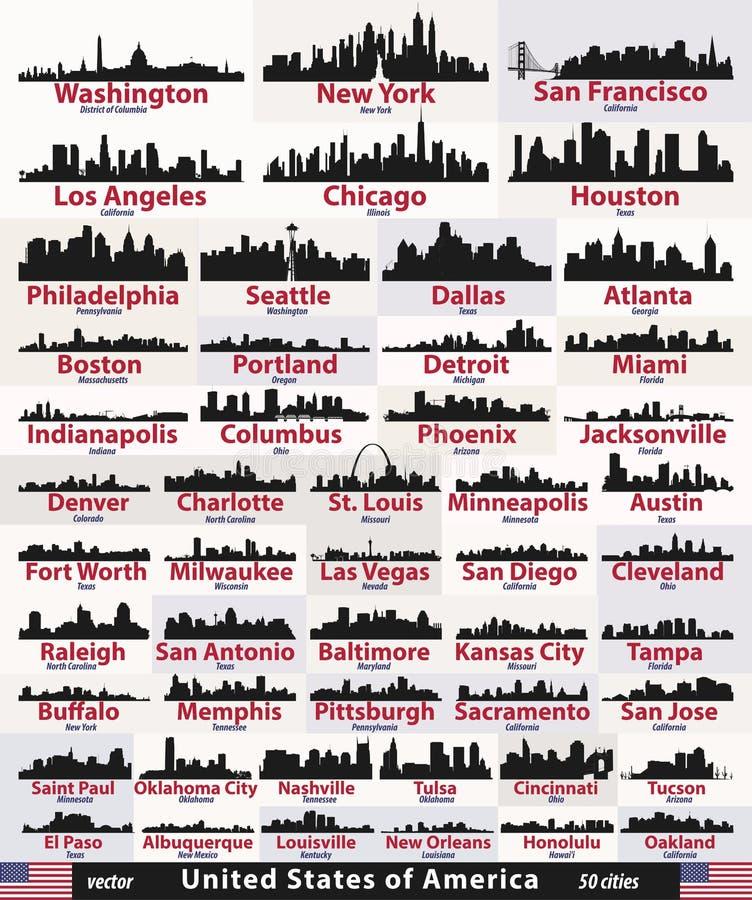 Grupo do vetor de silhuetas das skylines da cidade do sumário do Estados Unidos ilustração royalty free