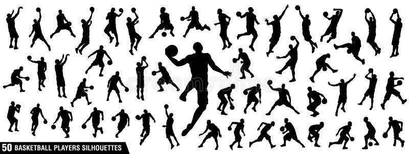Grupo do vetor de silhuetas dos jogadores de basquetebol ilustração royalty free