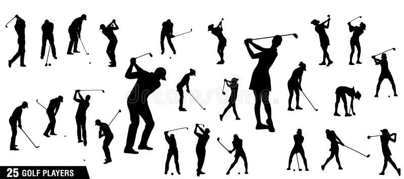 Grupo do vetor de silhuetas dos jogadores de golfe ilustração do vetor