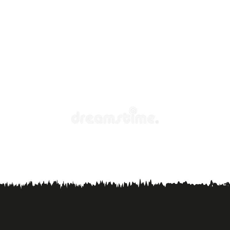 Grupo do vetor de silhuetas pretas da grama em Backround branco ilustração royalty free