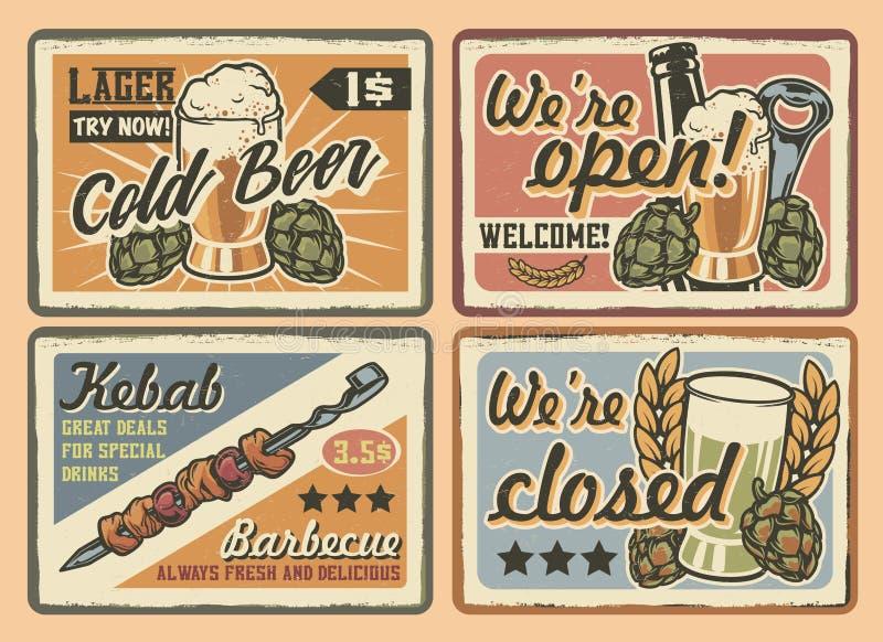 Grupo do vetor de sinais do café do vintage em um fundo claro imagem de stock royalty free