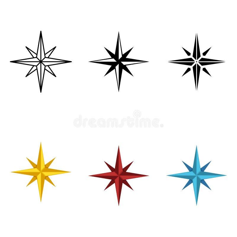 Grupo do vetor de sinais diferentes das rosas de vento dos estilos ilustração royalty free