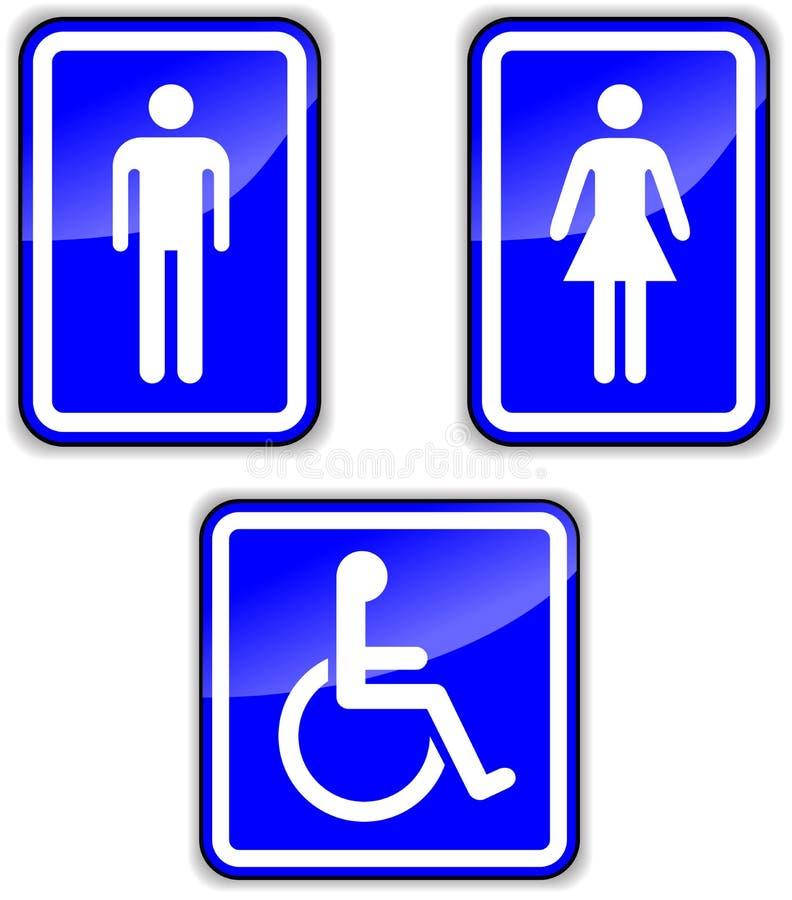 Grupo do vetor de sinais do wc ilustração do vetor