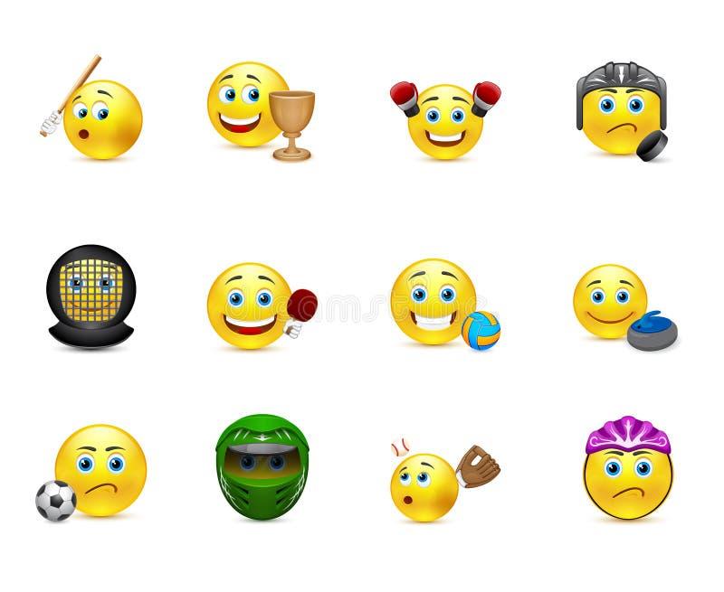 Grupo do vetor de sorrisos nos jogos do esporte do assunto ilustração stock