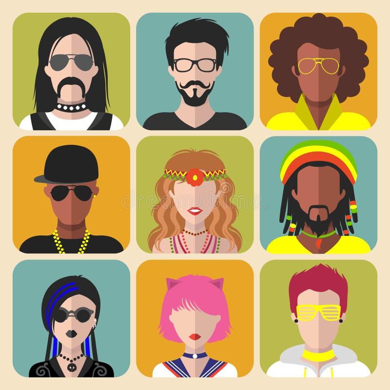 Grupo do vetor de subculturas diferentes homem e de ícones do app da mulher no estilo liso na moda Goth, raper, hippy, moderno, r ilustração royalty free