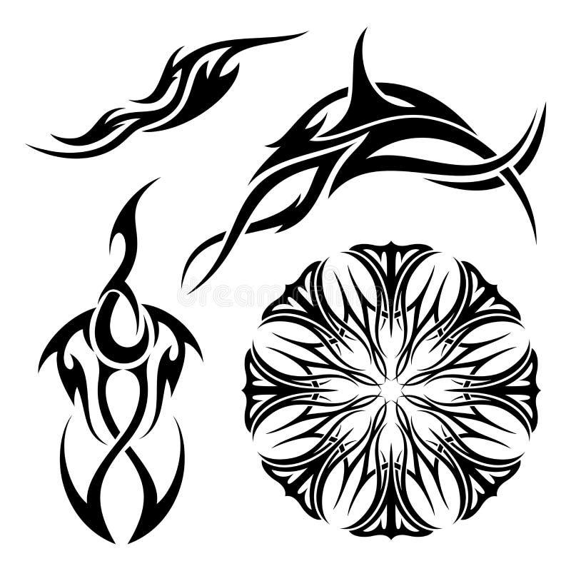 Grupo do vetor de tatuagem tribal ilustração royalty free