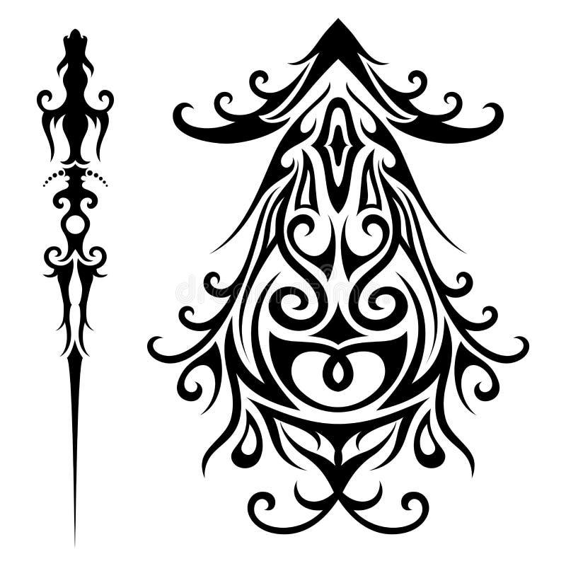 Grupo do vetor de tatuagem tribal ilustração stock