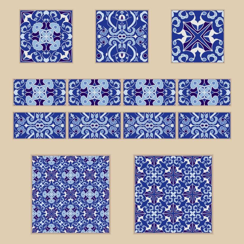 Grupo do vetor de telhas e de beiras portuguesas Coleção de testes padrões coloridos para o projeto e a forma ilustração do vetor