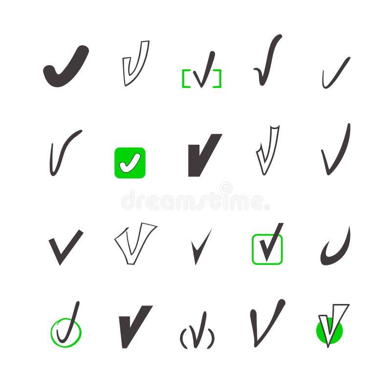 Grupo do vetor de tiquetaque diferente, acordo, aprovação ilustração royalty free