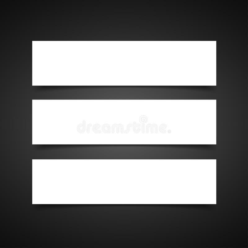Grupo do vetor de três bandeiras vazias com sombras transparentes do vetor O molde do vetor, zomba acima ilustração stock