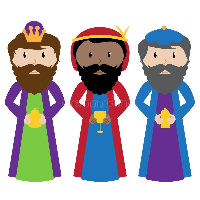 Grupo do vetor de três homens sábios ou três Reis Magos ilustração royalty free