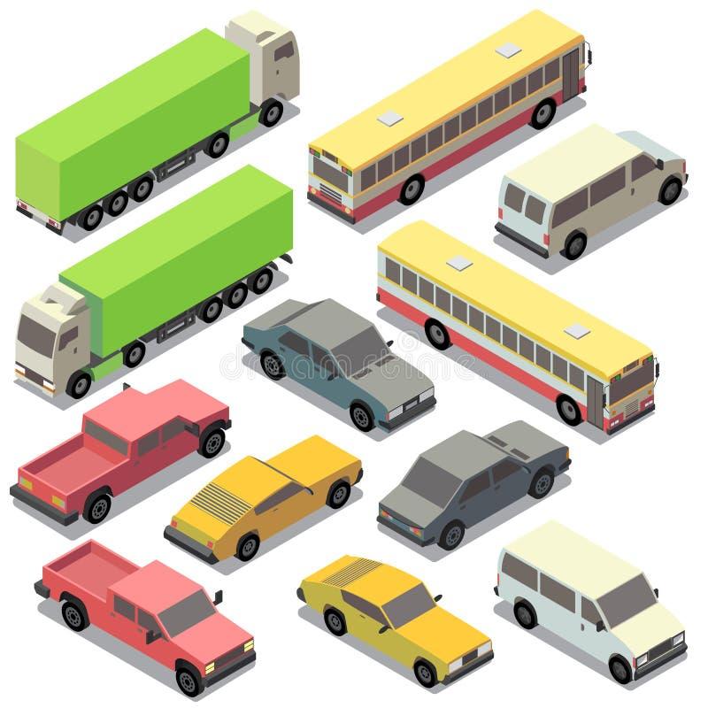 Grupo do vetor de transporte urbano isométrico, carros ilustração royalty free