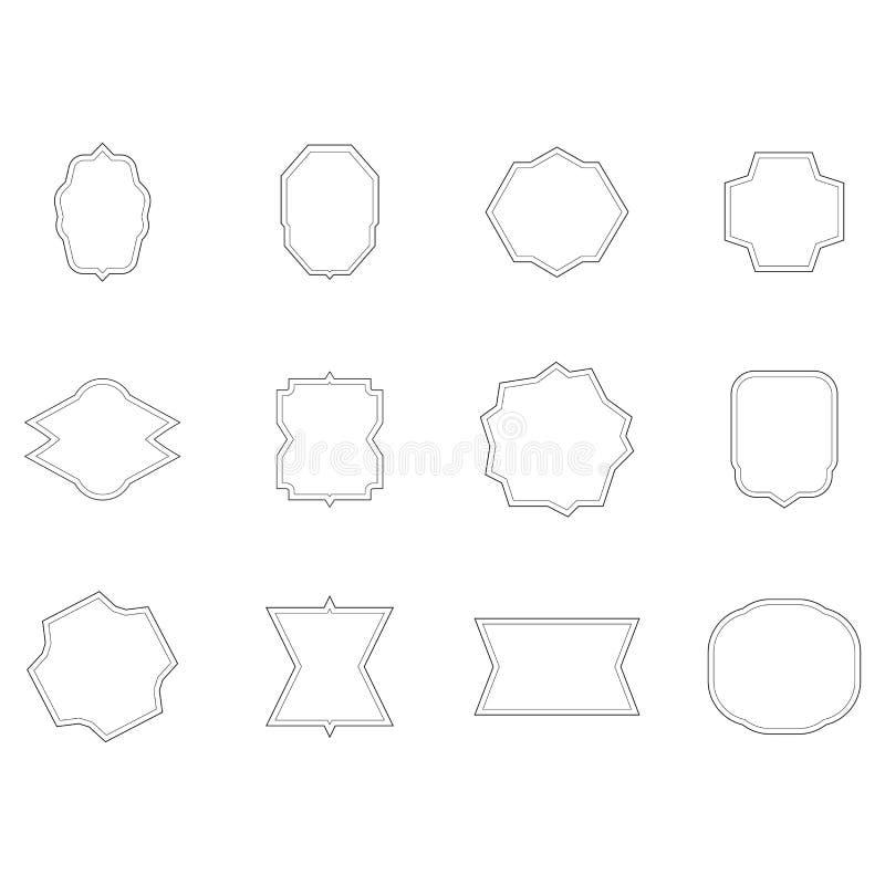 Grupo do vetor de várias formas esboçadas ilustração royalty free