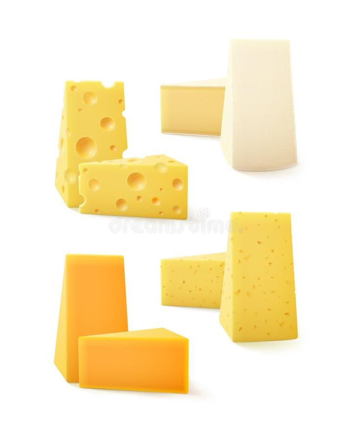 Grupo do vetor de vário queijo Cheddar amável Bri Camembert do queijo ilustração do vetor