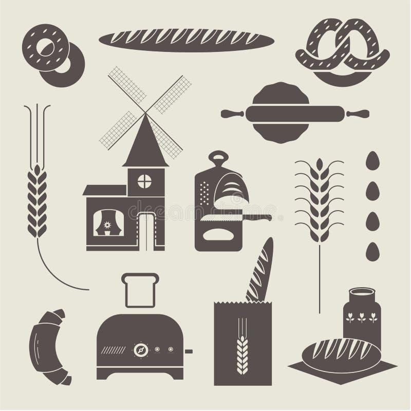 Ícones do pão ilustração royalty free