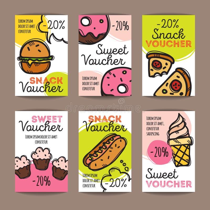 Grupo do vetor de vales do disconto para o fast food e as sobremesas Moldes coloridos do comprovante do estilo da garatuja Oferta fotografia de stock