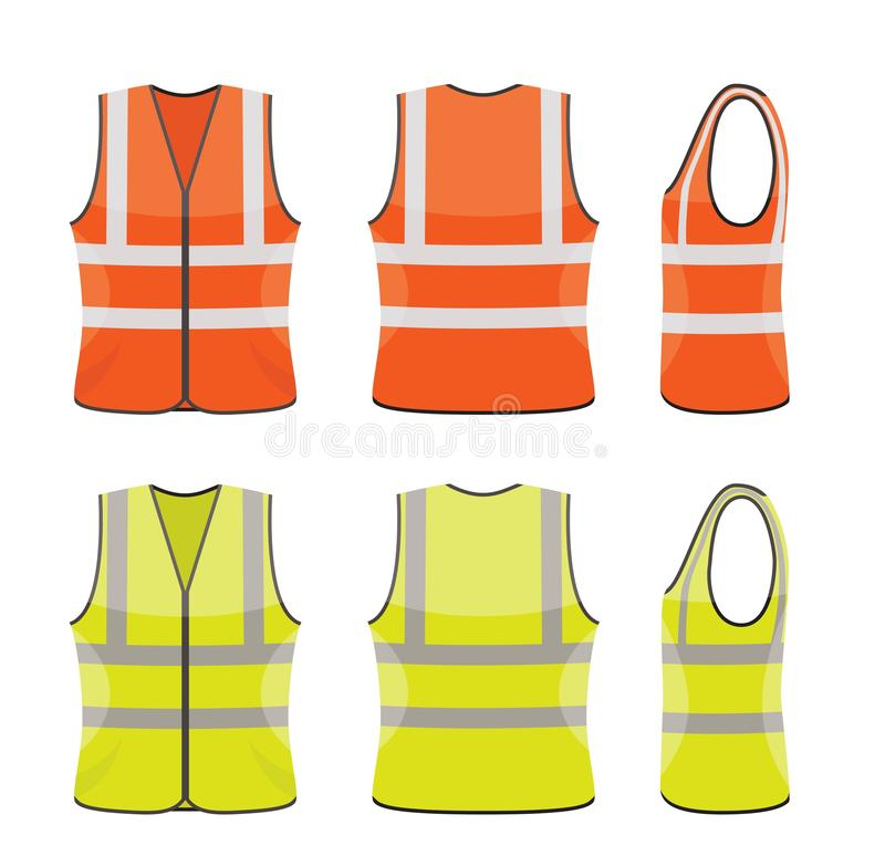 Grupo do vetor de vestes alaranjadas e amarelas da segurança ilustração royalty free