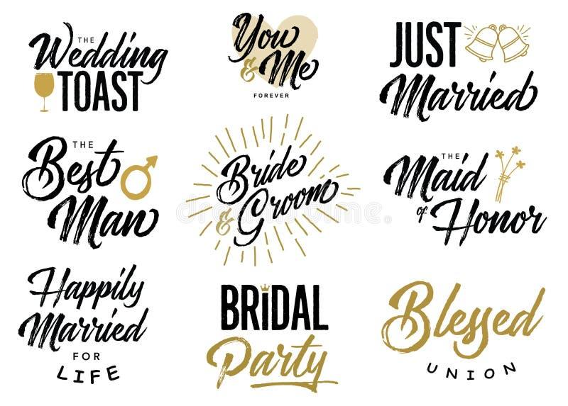 Grupo do vetor de Wedding Lettering Phrases dos noivos ilustração do vetor