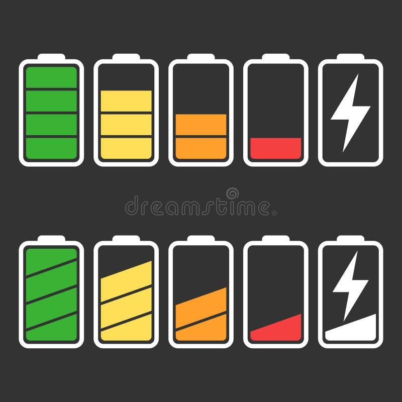 Grupo do vetor do ícone da bateria isolado no fundo preto ilustração do vetor