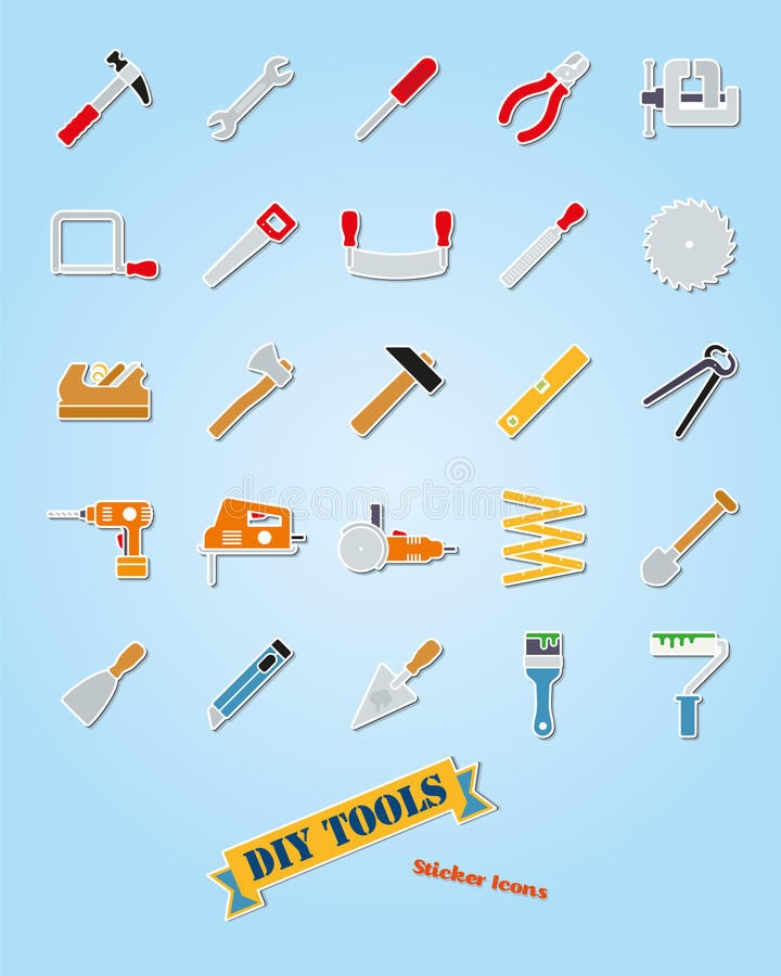 Grupo do vetor do ícone da etiqueta da variedade das ferramentas de DIY ilustração royalty free
