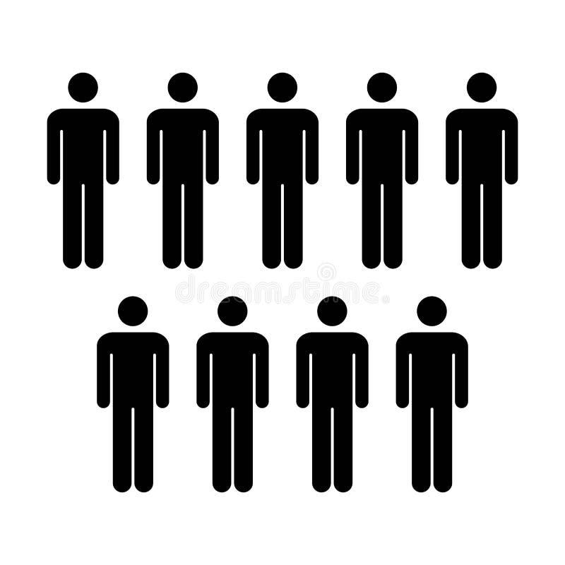 Grupo do vetor do ícone dos povos de ilustração de Team Symbol Pictogram dos homens ilustração royalty free