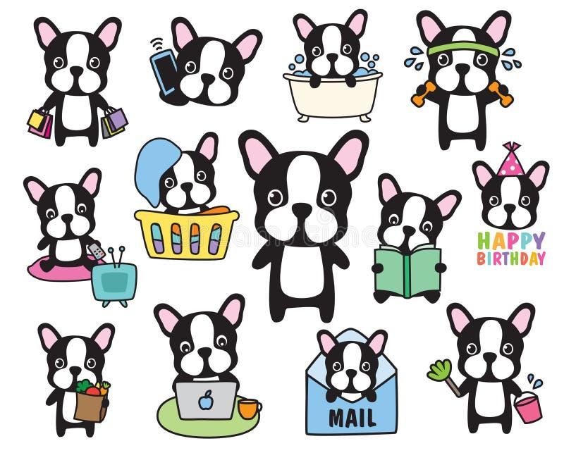 Grupo do vetor do cão de Boston Terrier do buldogue francês ilustração stock