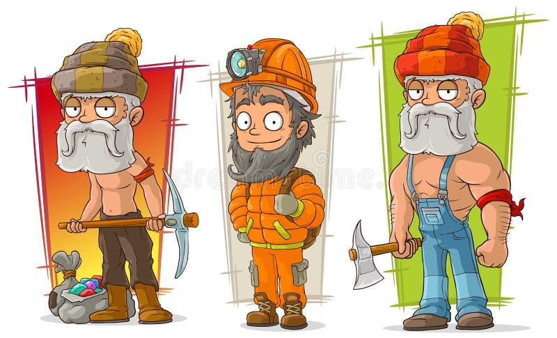 Grupo do vetor do caráter do escavador e do lenhador dos desenhos animados ilustração royalty free
