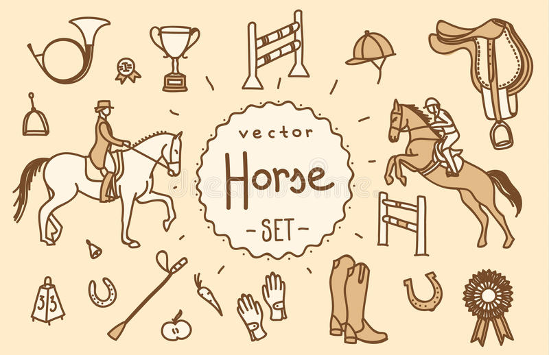 Grupo do vetor do cavalo foto de stock royalty free