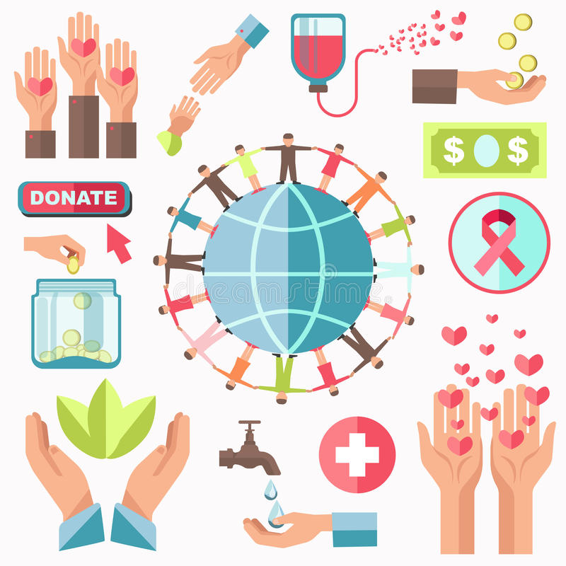 Grupo do vetor do conceito da caridade Doação e ajuda do dinheiro ilustração royalty free