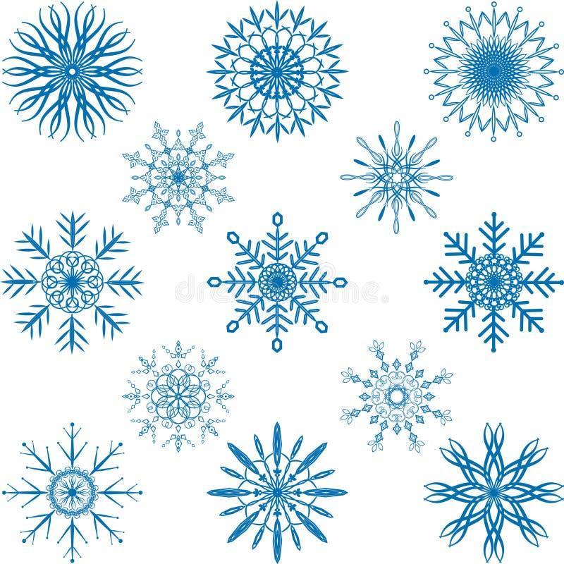Grupo do vetor do floco de neve ilustração royalty free
