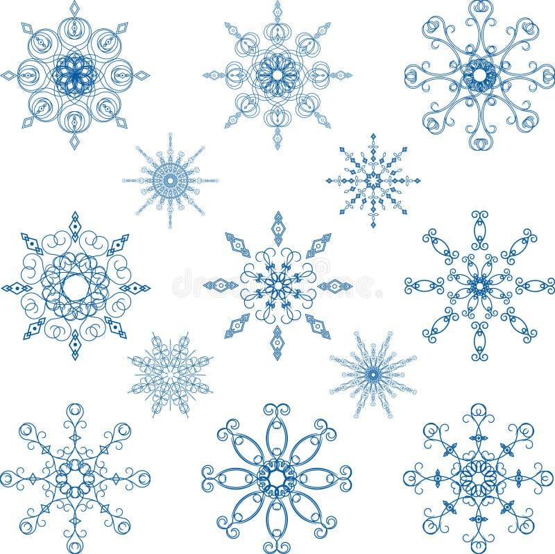 Grupo do vetor do floco de neve ilustração stock