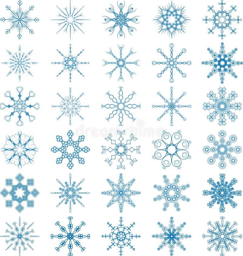 Grupo do vetor do floco de neve ilustração do vetor