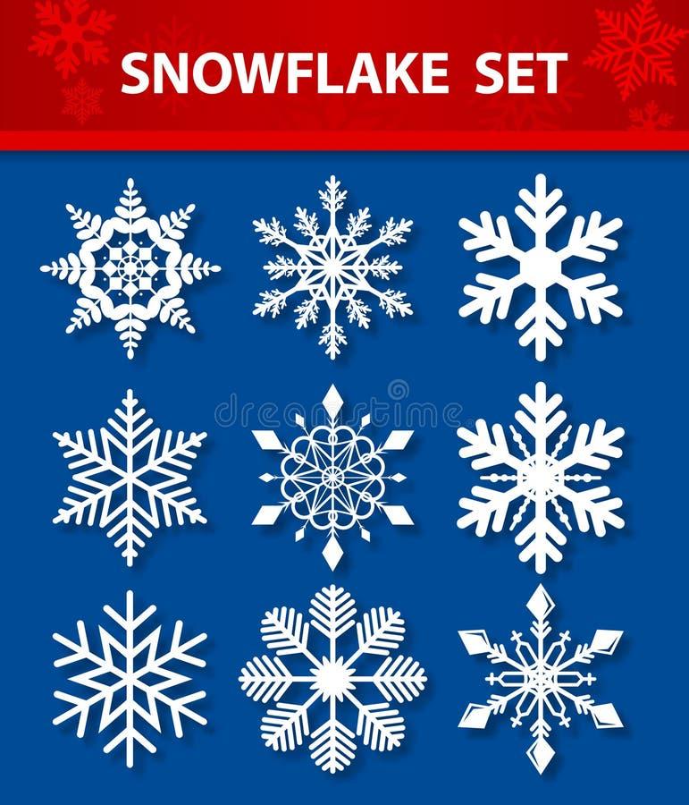 Grupo do vetor do floco de neve fotografia de stock royalty free