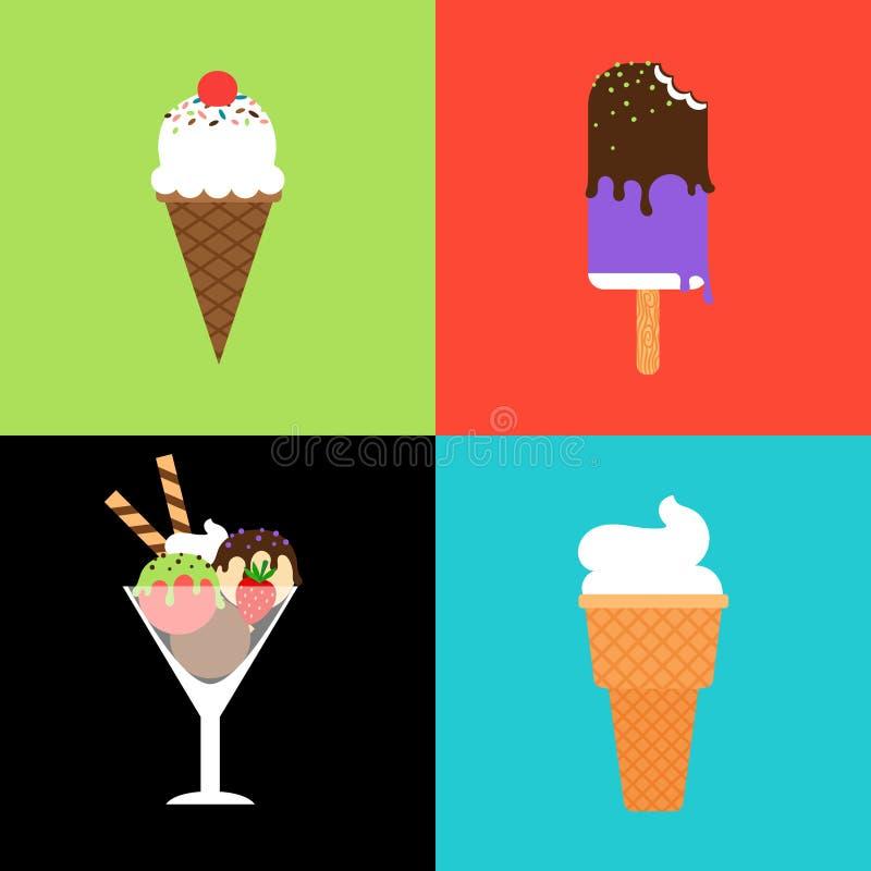 Grupo do vetor do gelado ilustração stock