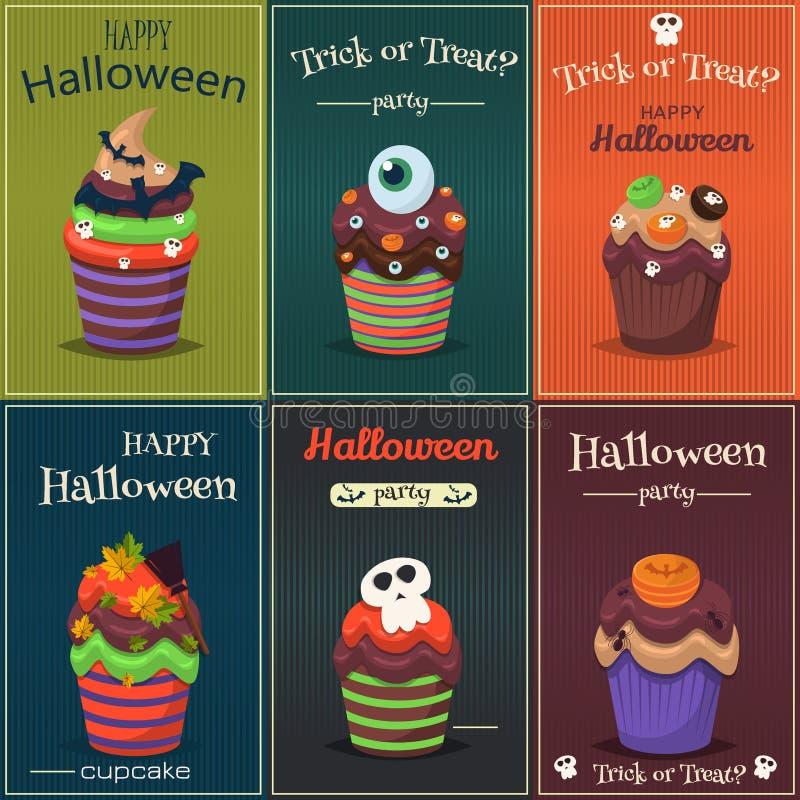 Grupo do vetor do queque Cartaz assustador feliz dos doces de Dia das Bruxas ilustração stock