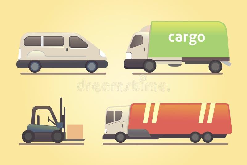 Grupo do vetor do transporte do caminhão da carga ilustração do vetor