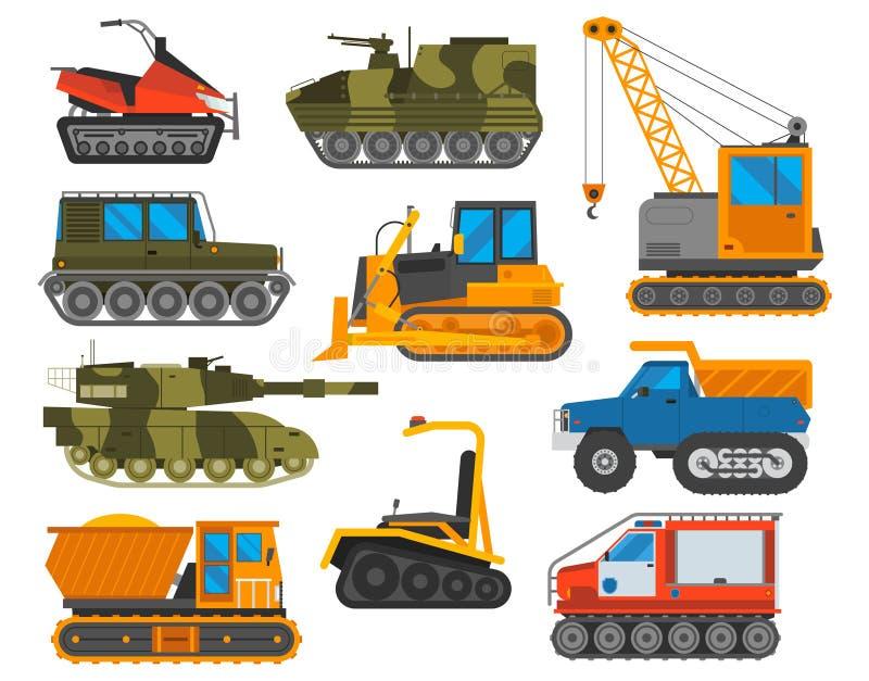 Grupo do vetor do trator do equipamento de Caterpillar ilustração do vetor