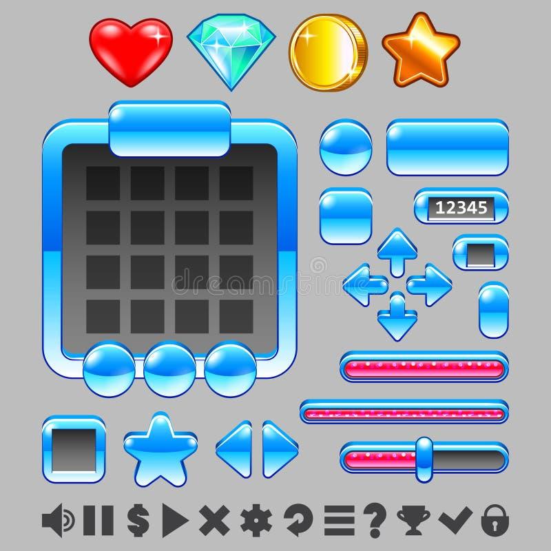 Grupo do vetor do ui dos botões e dos artigos da relação do jogo ilustração royalty free