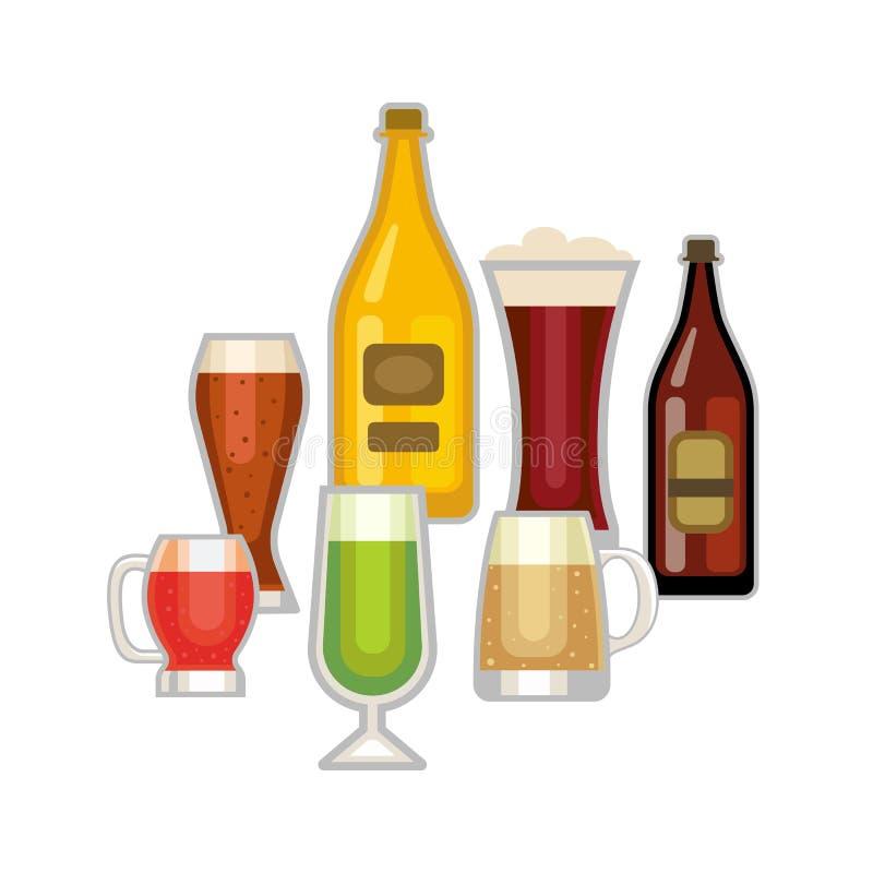 Grupo do vetor do vidro de cerveja ilustração do vetor