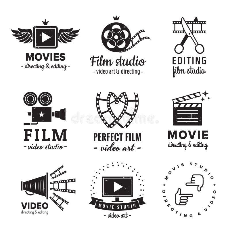 Grupo do vetor do vintage do logotipo do filme, do filme e do vídeo Moderno e estilo retro ilustração stock