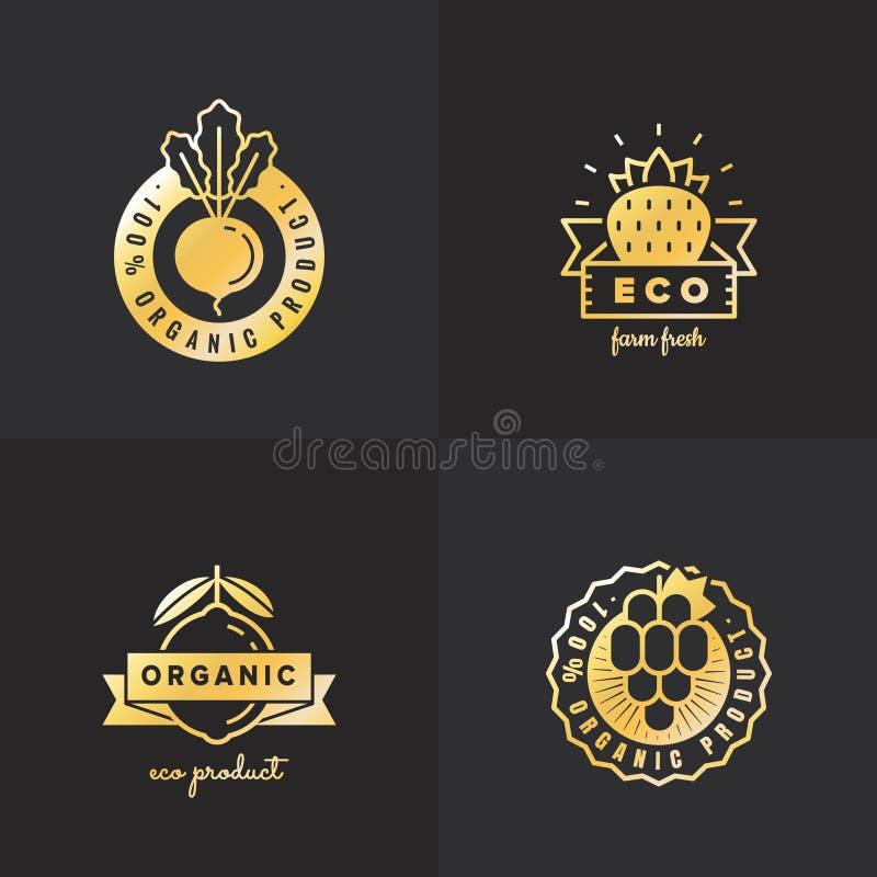 Grupo do vetor do vintage do logotipo do ouro do alimento biológico Parte cinco ilustração do vetor