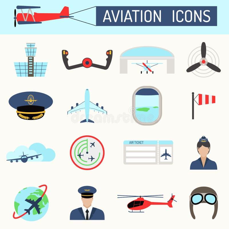 Grupo do vetor dos ícones da aviação ilustração do vetor