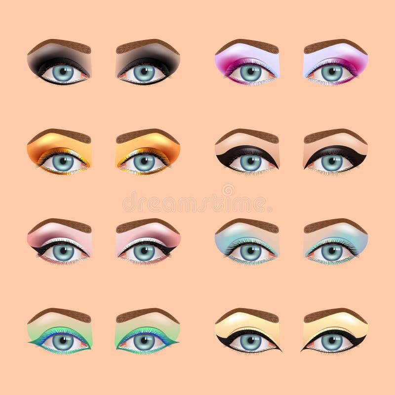 Grupo do vetor dos ícones da composição dos olhos ilustração stock