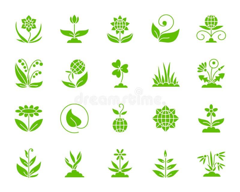 Grupo do vetor dos ícones da silhueta da cor do jardim ilustração stock