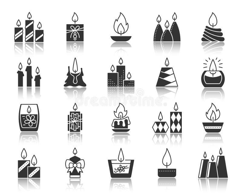 Grupo do vetor dos ícones da silhueta do preto da chama de vela ilustração stock
