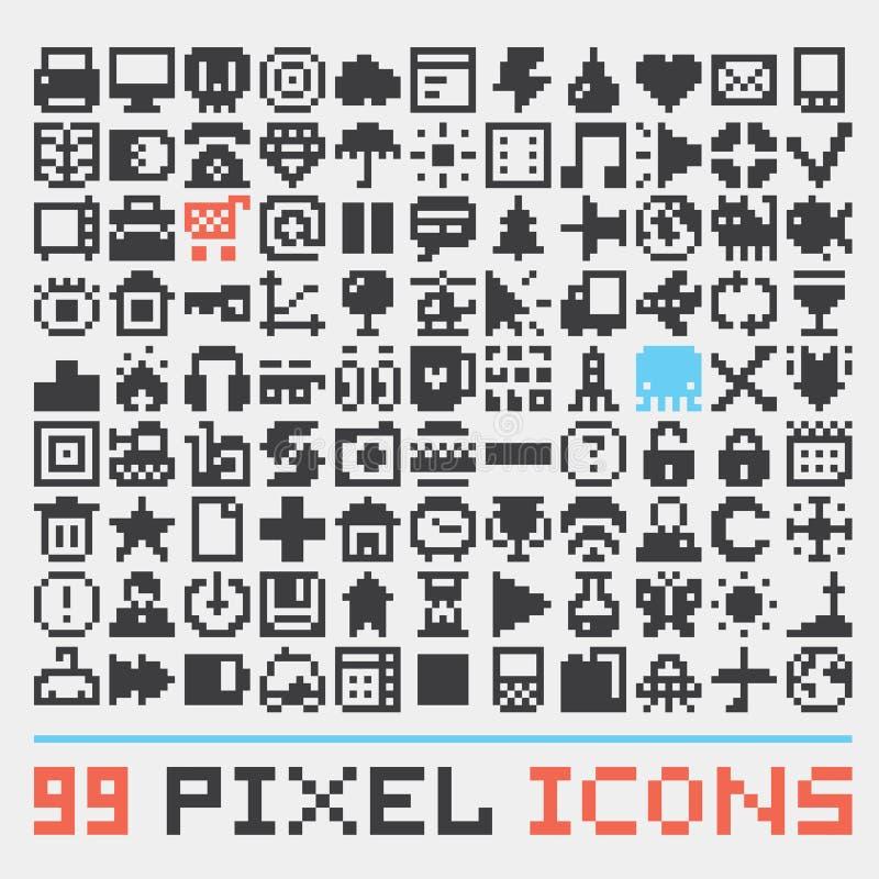 Grupo do vetor dos ícones da Web da arte do pixel ilustração do vetor