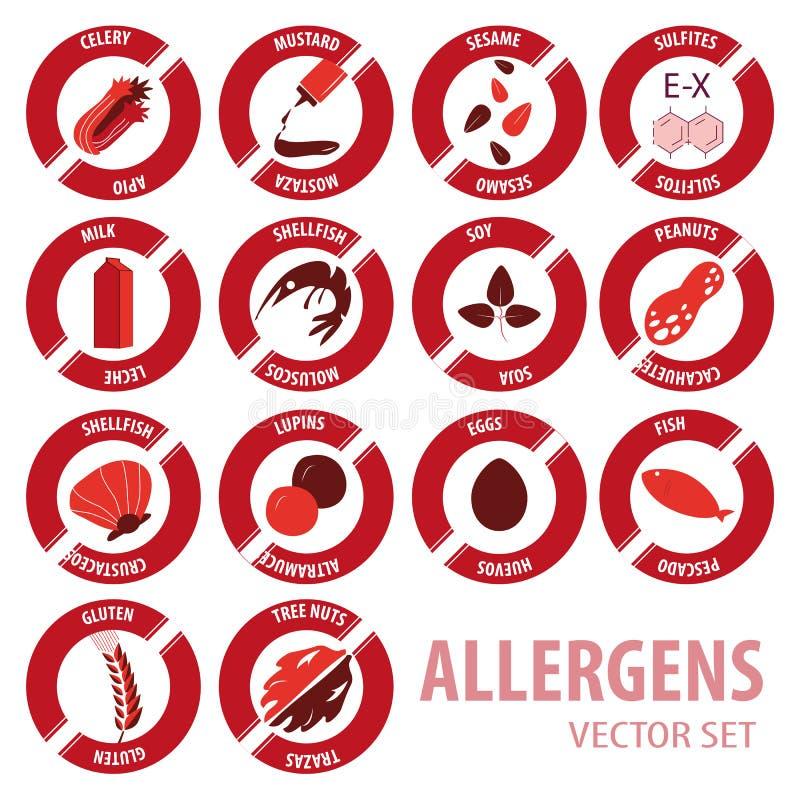 Grupo do vetor dos ícones das alergias de Foor ilustração do vetor