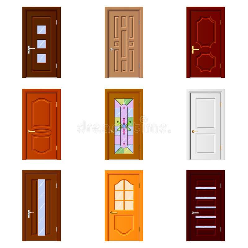 Grupo do vetor dos ícones das portas da sala ilustração stock