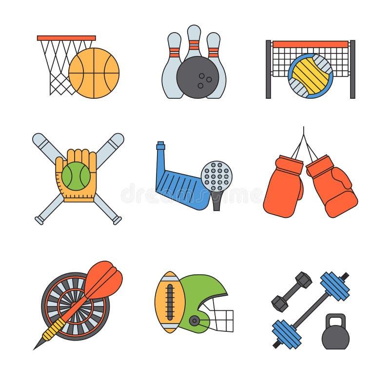Grupo do vetor dos ícones do esporte ilustração royalty free