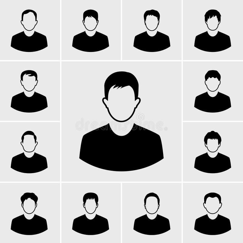 Grupo do vetor dos ícones do homem ilustração do vetor